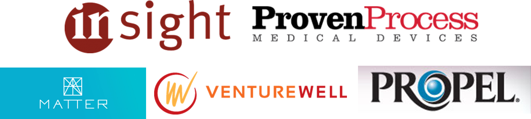 Insight Product Development; VentureWell; MATTER; Chicago Innovation Mentors; PROPEL;